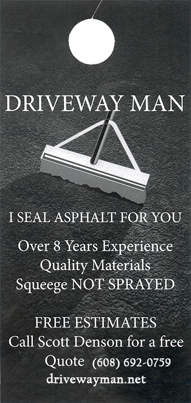 Graphic of Driveway Man door hanging advertisement